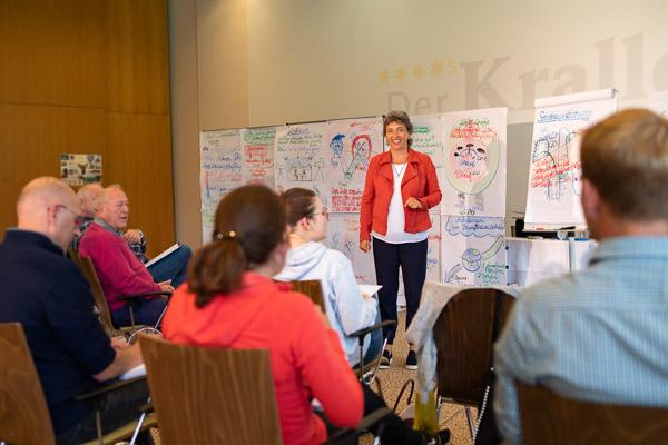 Petra Wackerle - Seminarleiterin der PALLAS-Seminare vor einer Seminargruppe